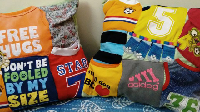 Cushion covers made from old doggie clothes